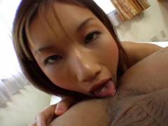 Maria Fujisawa licks brown eye and licks rod