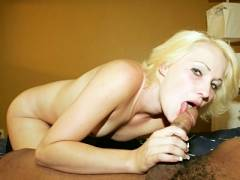 Cute Blonde Slurping a Black Prick