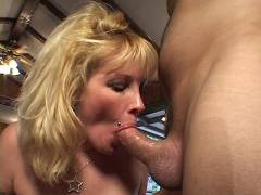 Blonde MILF Slobbers Joy stick