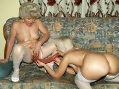 Horny Grannies Sharing a  Dildo