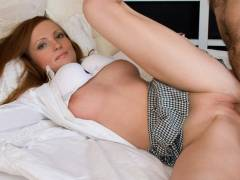 Teen redhead to rub belliesed after BJ some meat